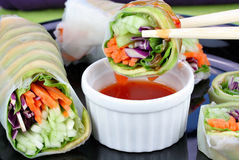 Sushi végétaux avec de la sauce photographie stock libre de droits