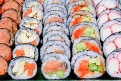 Sushi various fillings are arranged Stock Photo