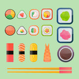 Sushi vector flat icons set Royalty Free Stock Images