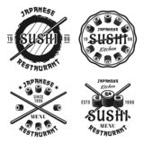 Sushi set of vector emblems. Sushi vector four emblems, labels, badges or logos in vintage monochrome style isolated on white background stock illustration