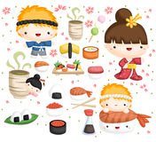 Sushi vector set Stock Photos