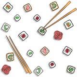 Sushi - vector set or pattern. Japan sushi - vector set. Background or pattern, food illustration vector illustration