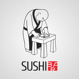 Sushi vector template logo, icon, emblem. Nonstandard design element, illustration with chef cooking at the kitchen for sushi bar, Japanese or seafood Royalty Free Stock Photos