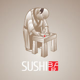 Sushi vector template logo, icon, symbol. Isolated design element, illustration with cook traditional netske figurine for sushi bar, seafood or Japanese Stock Photos