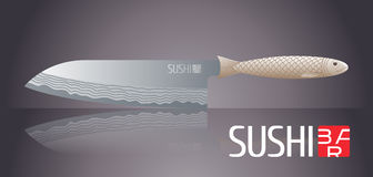 Sushi vector template logo, icon, symbol. Nonstandard design element, illustration with fish knife for sushi bar, seafood or Japanese restaurant menu Royalty Free Stock Photos