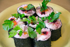 Sushi with vegetables Royalty Free Stock Image