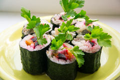 Sushi with vegetables Stock Image