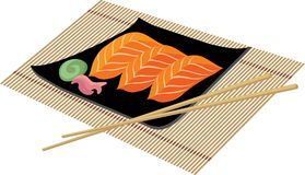 Sushi with wasabi. Delicious sushi with wasabi on the mat royalty free illustration