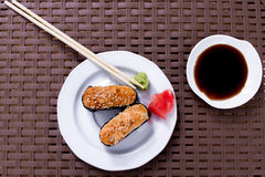 Sushi. With wasabi and ginger Royalty Free Stock Photo