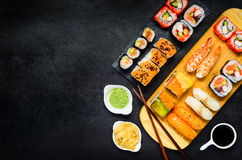 Sushi with Wasabi and Ginger on Copy Space Area Royalty Free Stock Image