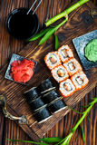 Sushi. With wasabi and ginger on a table royalty free stock image