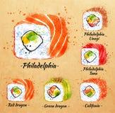 Sushi watercolor Rolls in kraft Stock Photo