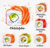 Sushi watercolor Rolls Royalty Free Stock Photos