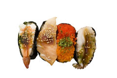 Sushi on a White Background. Sushi, with various toppings isolated against a white background. Sushi originally comes from Japan and is usually raw seafood on royalty free stock image