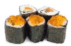 Sushi on a white background. Five sushi close up on a white background Stock Image