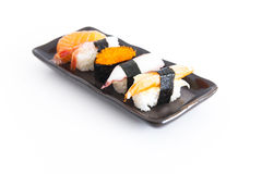 Sushi with white background. Five sushi with white background Stock Photos