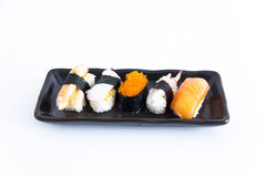 Sushi with white background. Five sushi with white background Royalty Free Stock Photo
