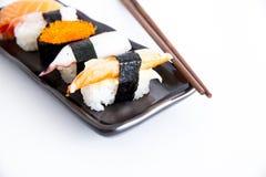 Sushi with white background. Five sushi with white background Royalty Free Stock Image