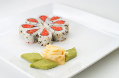 Sushi on white ceramic plate Stock Photo
