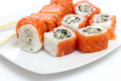 Sushi on white plate Royalty Free Stock Image