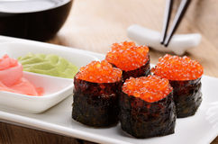 Sushi on a white plate Royalty Free Stock Photos