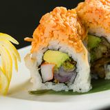 Sushi on a white plate. Close up of sushi on a white plate stock photography