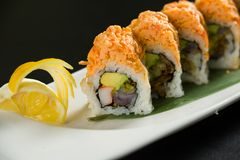 Sushi on a white plate. Close up of sushi on a white plate royalty free stock images