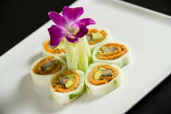 Sushi on a white plate. Close up of sushi on a white plate stock photo