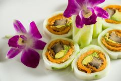 Sushi on a white plate. Close up of sushi on a white plate stock images