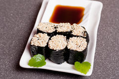 Sushi on a white plate Stock Photos