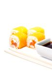 Sushi in white plate isolated on white background Stock Image