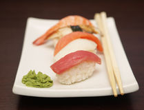 Sushi  on a white plate. See my other works in portfolio Stock Images