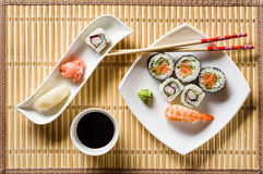 Sushi on white plate Royalty Free Stock Images