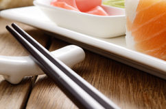 Sushi on a white plate Royalty Free Stock Photo