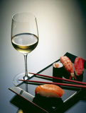 Sushi and wine Royalty Free Stock Image