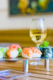 Sushi and wine Stock Photos