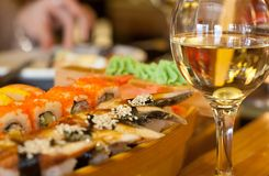 Sushi and wine Royalty Free Stock Photo