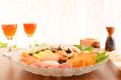 Sushi with wine Stock Image