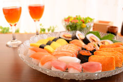 Sushi with wine Stock Images
