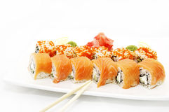 Sushi With Flying Fish Roe Royalty Free Stock Images
