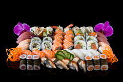 Sushi With Orchid Stock Photo
