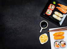 Free Sushi With Sashimi And Soy Sauce On Copy Space Area Stock Images - 79216564