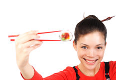 Sushi woman Stock Photography