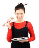 Sushi woman Stock Image