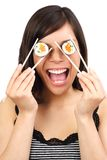 Sushi woman royalty free stock photography