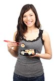 Sushi woman eating healthy Stock Photos