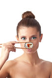 Sushi woman isolated Royalty Free Stock Photos