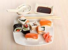 Sushi on wood plate Stock Image
