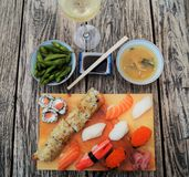 Sushi on wood table stock images
