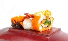 Sushi on wood with whitebackground. Royalty Free Stock Photography